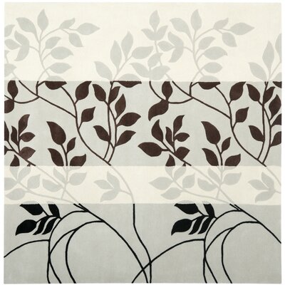 Beverly Gray / Chocolate Area Rug Rug Size: Square 7
