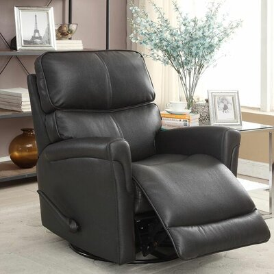 Ross Swivel Glider Recliner Upholstery: Charcoal Gray