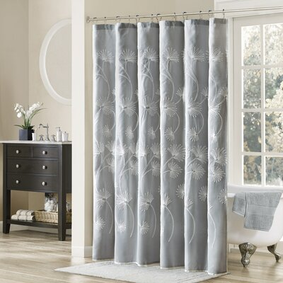 Donegal Embroidered Shower Curtain Color: Gray
