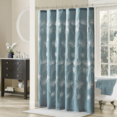 Donegal Embroidered Shower Curtain Color: Blue