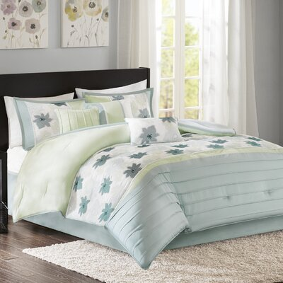 Colebrook 7 Piece Comforter Set Size: California King, Color: Aqua