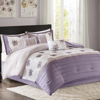 Colebrook 7 Piece Comforter Set Size: King, Color: Purple