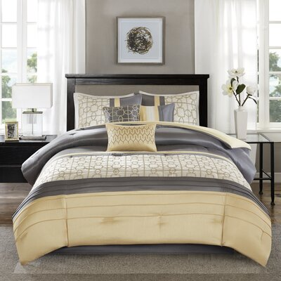 Colden 7 Piece Comforter Set Size: Queen, Color: Yellow