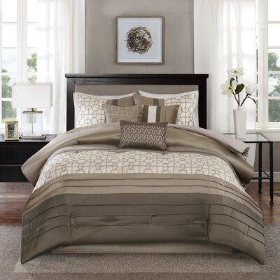 Colden 7 Piece Comforter Set Size: King, Color: Taupe