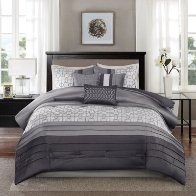 Colden 7 Piece Comforter Set Size: King, Color: Gray