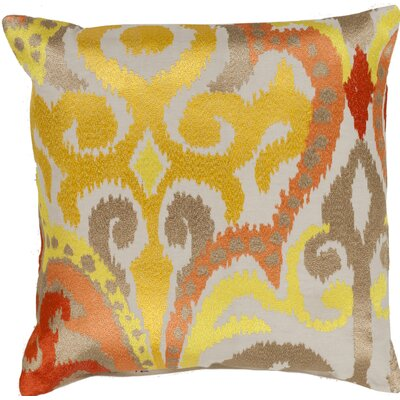 Claysburg Throw Pillow Color: Yellow / Orange, Fill Material: Down