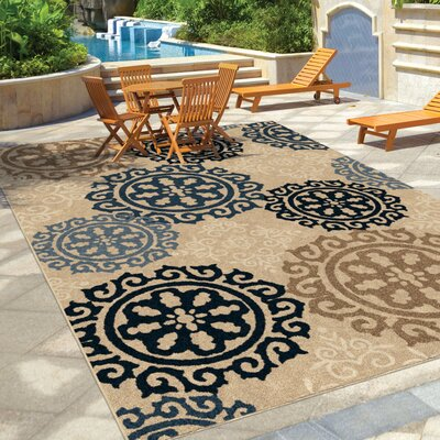 Maywood Beige/Navy/Blue Indoor/Outdoor Area Rug Rug Size: 710 x 1010