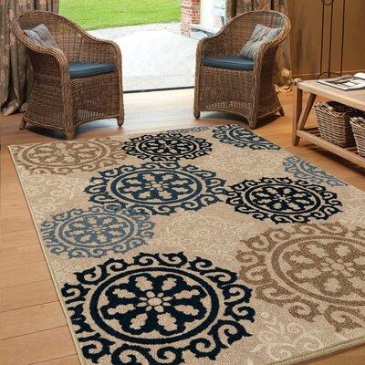 Maywood Beige/Navy/Blue Indoor/Outdoor Area Rug Rug Size: 53 x 76