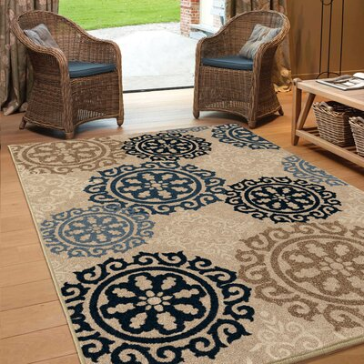 Maywood Beige/Navy/Blue Indoor/Outdoor Area Rug Rug Size: 53 x 76