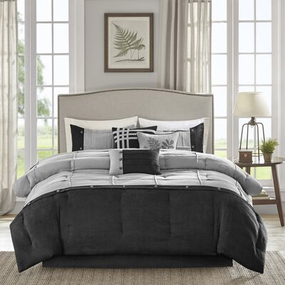 Merrillville 7 Piece Comforter Set Size: Queen, Color: Black/Gray