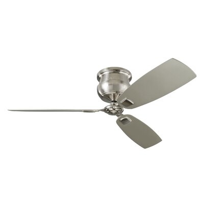 56 Monticello 3-Blade Ceiling Fan with Remote Motor Finish: Brushed Steel
