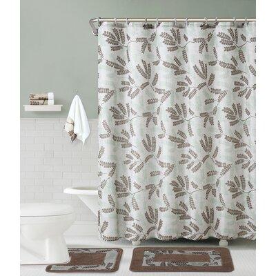 Maywood 5 Piece Shower Curtain Set Color: Sage/Chocolate