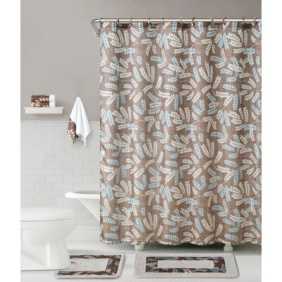 Maywood 5 Piece Shower Curtain Set Color: Chocolate/Taupe