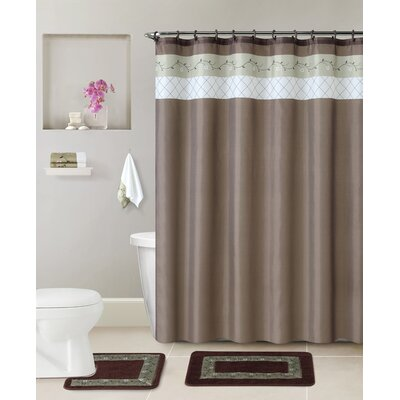 McCabe 5 Piece Shower Curtain Set Color: Chocolate