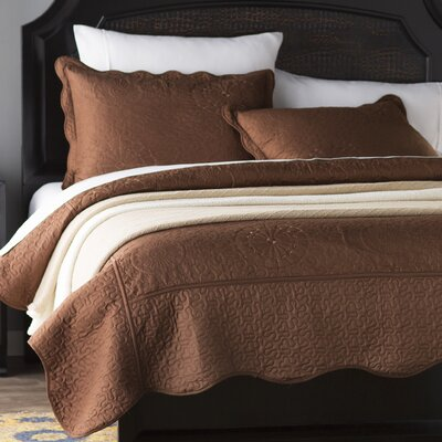 Flatrock Embroidered Quilt Set Color: Chocolate, Size: Twin