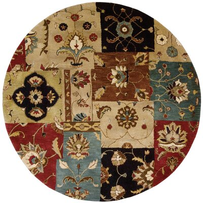 Philip Hand-Tufted Yellow/Brown/Black Area Rug Rug Size: Round 6