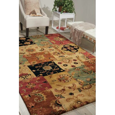 Philip Hand-Tufted Yellow/Brown/Black Area Rug Rug Size: 97 x 136