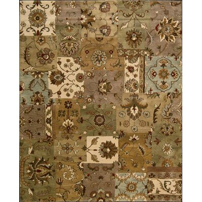 Philip Hand-Tufted Brown/Green/Beige Area Rug Rug Size: 83 x 116