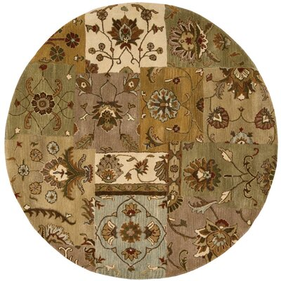 Philip Hand-Tufted Brown/Green/Beige Area Rug Rug Size: Round 6