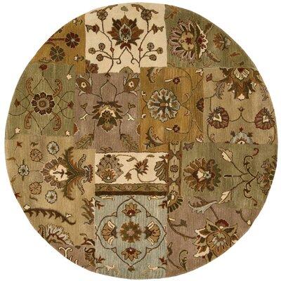 Philip Hand-Tufted Brown/Green/Beige Area Rug Rug Size: Round 8