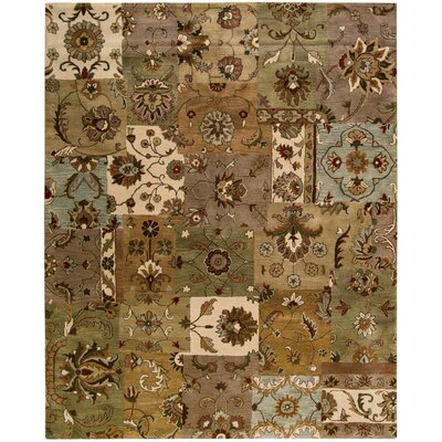 Philip Hand-Tufted Brown/Green/Beige Area Rug Rug Size: 96 x 136