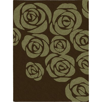 Roseland Hand-Tufted Brown/Green Area Rug Rug Size: 56 x 75