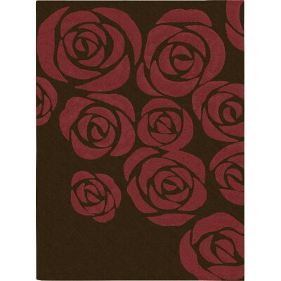 Roseland Hand-Tufted Brown/Red Area Rug Rug Size: 36 x 56