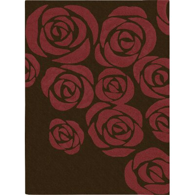 Roseland Hand-Tufted Brown/Red Area Rug Rug Size: 56 x 75