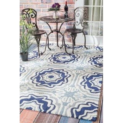 Truman Tiles Hand-Hooked Blue Area Rug Rug Size: Rectangle 5 x 8