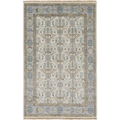 Zeus Hand-Knotted Ivory Area Rug Rug size: Rectangle 5'6