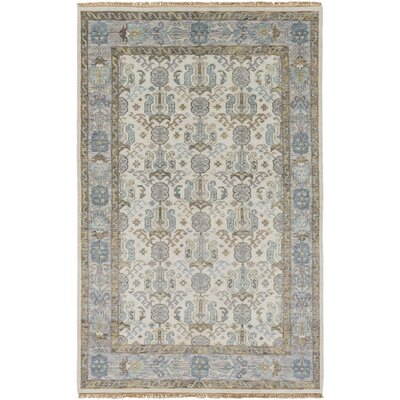 Orland Hand-Knotted Ivory Area Rug Rug size: 56 x 86
