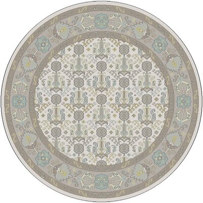 Orland Hand-Knotted Ivory Area Rug Rug size: Round 8