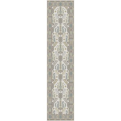 Zeus Hand-Knotted Ivory Area Rug Rug size: Runner 2'6