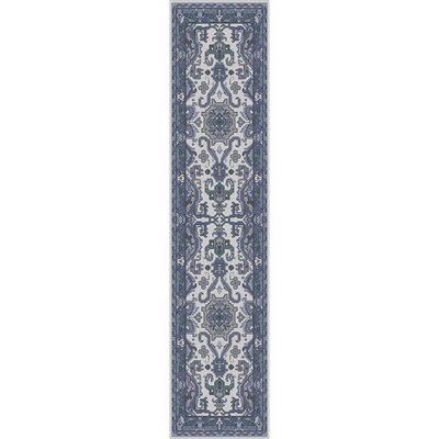 Orland Hand-Knotted Navy Area Rug Rug size: Runner 26 x 8