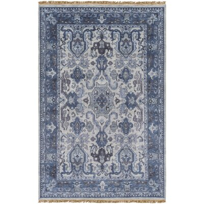 Orland Hand-Knotted Navy Area Rug Rug size: 56 x 86