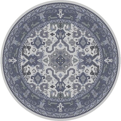 Orland Hand-Knotted Navy Area Rug Rug size: Round 8