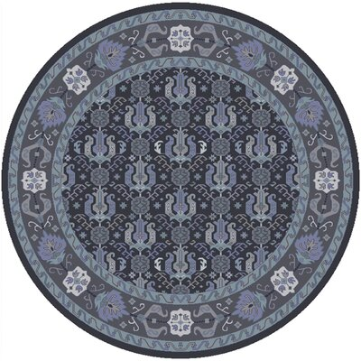 Orland Hand-Knotted Dark Purple Area Rug Rug size: Round 8