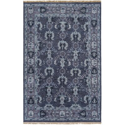 Orland Hand-Knotted Dark Purple Area Rug Rug size: 39 x 59