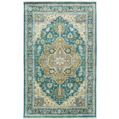 Zeus Hand-Knotted Blue Area Rug Rug Size: Rectangle 5 x 8