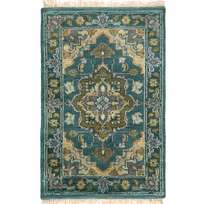 Orland Hand-Knotted Blue Area Rug Rug Size: Rectangle 79 x 99