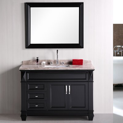 Middletown 48 Single Bathroom Vanity Set with Mirror Base Finish: White, Top Finish: Crema Marfil