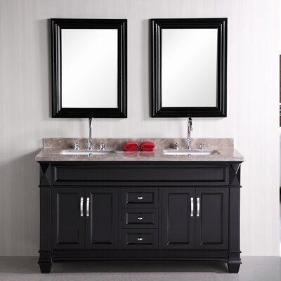 Halcomb 61 Double Bathroom Vanity Set with Mirror Top Finish: Crema Marfil, Base Finish: White