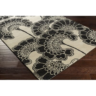 Dramieco Hand-Tufted Black/Beige Area Rug Rug size: Rectangle 5 x 8