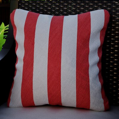 Mad Malts Outdoor Throw Pillow Fabric: Malibu Cherry Stripe