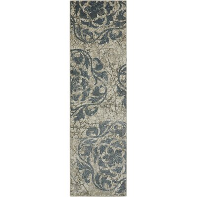 Aberdeen Ivory/Blue Area Rug Rug Size: Runner 22 x 76