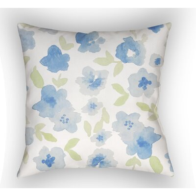 Bramhall Floral Indoor/Outdoor Throw Pillow Size: 18 H x 18 W, Color: White / Blue