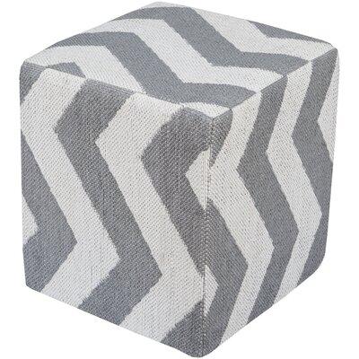Osborne Pouf Ottoman Upholstery: Light Gray/Ivory