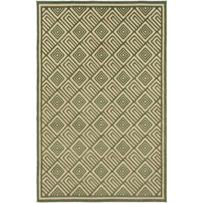 Vassar Dark Green/Khaki Indoor/Outdoor Area Rug Rug size: Rectangle 5 x 76
