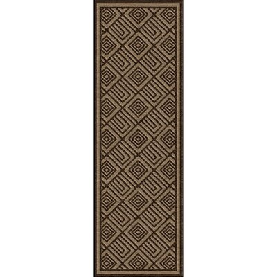 Vassar Dark Brown/Tan Indoor/Outdoor Area Rug Rug size: Runner 26 x 71