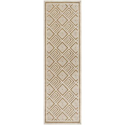 Vassar Ivory/Tan Indoor/Outdoor Area Rug Rug size: Runner 26 x 71
